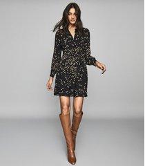reiss arabella - spot printed mini dress in black, womens, size 12