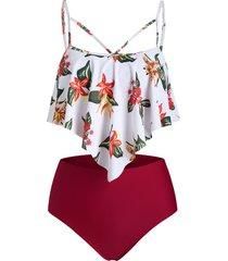 floral print criss cross ruffle overlay tankini swimsuit