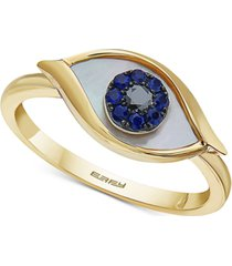 effy mother-of-pearl, sapphire (1/10 ct. t.w.) & diamond accent evil-eye ring in 14k gold