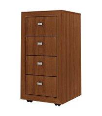gaveteiro para escritório 4 gavetas me4133 amendoa - tecno mobili