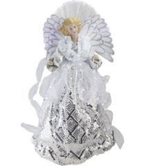 """northlight 16"""" lighted fiber optic angel in white and silver sequined gown christmas tree topper"""