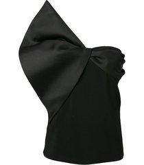 lanvin blusa tomara que caia com detalhe de laço - preto