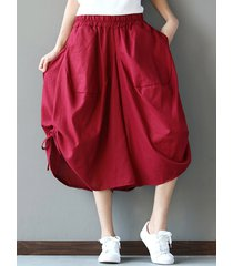 donna pantaloni sciolti di stile folk con tasche laterali in colore a tinta unita