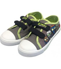 zapatilla lona plants gris ultra zombies