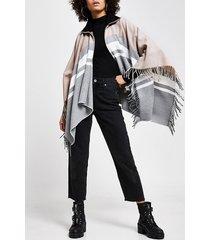 river island womens grey colour block zip front cape