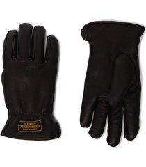 neighborhood lined logo print gloves - black