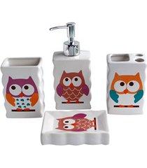 conjunto de acessórios para banheiro coruja com 4 peças