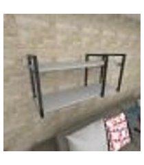 prateleira industrial para sala aço cor preto prateleiras 30 cm cor cinza modelo ind21csl