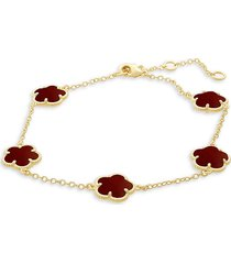jan-kou women's floral 14k goldplated & coral agate station bracelet