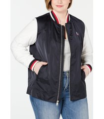 levi's trendy plus size colorblocked bomber jacket