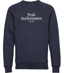 m original crew sweat-shirt tröja blå peak performance