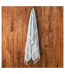 cotton beach towel, 'fresh relaxation in celadon' (guatemala)