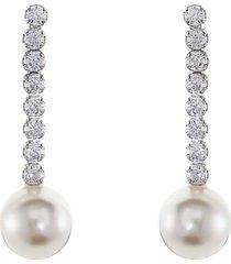 orecchini in argento 925 rodiato, perle e zirconi per donna