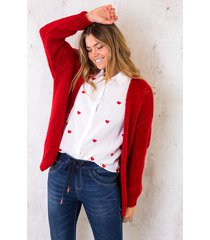 oversized knitted vest rood