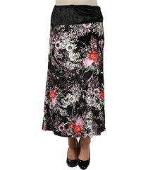 24seven comfort apparel women floral print velvet maxi skirt