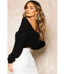 ingekorte trui met v-rug, zwart