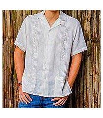 men's cotton guayabera shirt, 'white ivy' (el salvador)