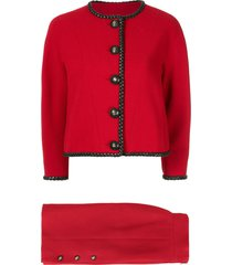 chanel pre-owned 1980s chanel cc setup suit jacket skirt - red