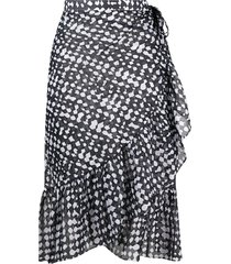eres gazelle abstract-print beach skirt - black