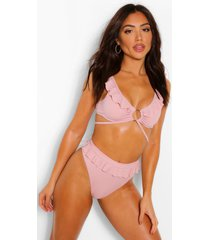 frill detail high leg bikini bottoms, mauve