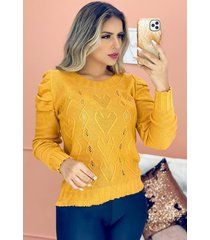 blusa tricot vazado manga princesa