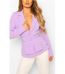 self belt peplum blazer, lilac