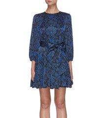 mina' floral print pinstripe puff sleeve mini dress