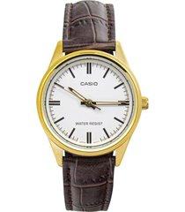 reloj casio ltp_v005gl_7a marrón cuero