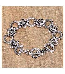 sterling silver link bracelet, 'hold me tight' (indonesia)