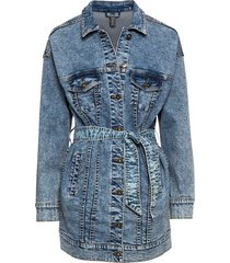 giacca di jeans oversize con cintura (blu) - rainbow