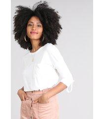 blusa feminina ampla com bolso manga 3/4 decote redondo off white