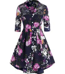 plus size flower print lace panel tunic blouse
