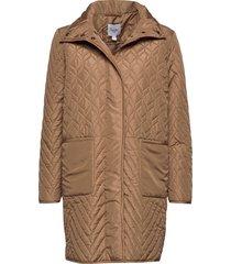 u7013, quilted jacket gevoerde lange jas bruin saint tropez