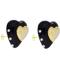 brinco coração resina black com coração banhado a ouro 18k