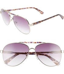 longchamp le pliage 61mm aviator sunglasses in violet/tortoise at nordstrom