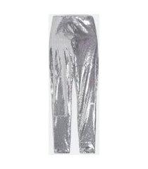 calça legging em malha de paetês | just be | prata | pp