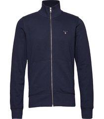 the original full zip cardigan sweat-shirts & hoodies zip throughs blauw gant