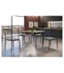 conjunto de mesa de jantar grécia com tampo de vidro siena e 4 cadeiras atos linho cinza e café