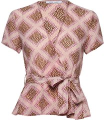 klea ss blouse aop 6621 blouses short-sleeved roze samsøe samsøe