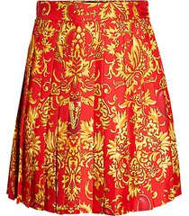 baroque-print pleated silk skirt