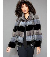 the fur vault striped mink-fur jacket