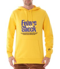 a.p.c. x brain dead spacy long sleeve hooded sweatshirt - yellow 27557