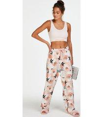 hunkemöller pyjamasbyxor i vävt tyg rosa