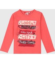 camiseta manga larga coral-blanco-rosa boboli