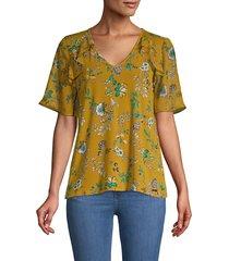 calvin klein women's floral short bell-sleeve top - ochre - size s