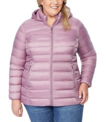 32 degrees plus size hooded packable water-resistant puffer coat, created for macy's