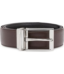 burberry reversible grainy leather belt - brown