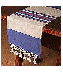 cotton and silk blend table runner, 'blue-violet beach' (mexico)