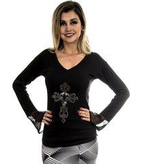 blusa 4 folhas manga longa cruz preta