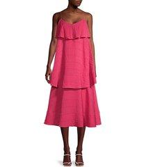 tiered crinkle midi dress